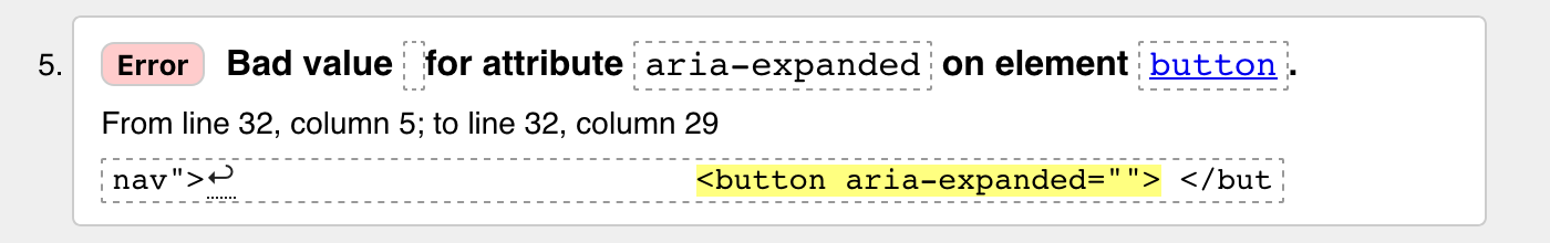 Error: Bad value for attribute aria-expanded on element button.