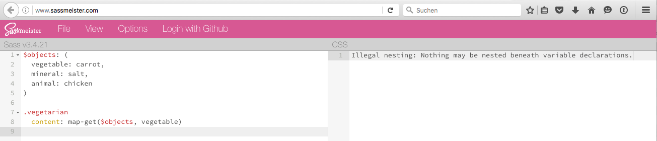 Error: Illegal nesting: Nothing may be nested beneath variable declarations.