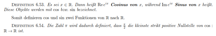 Definition cosinus und pi