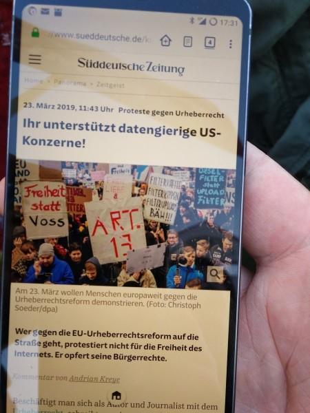 Protest Gegen Artikel 13 Von Matthias Apsel 16 03 2019 11