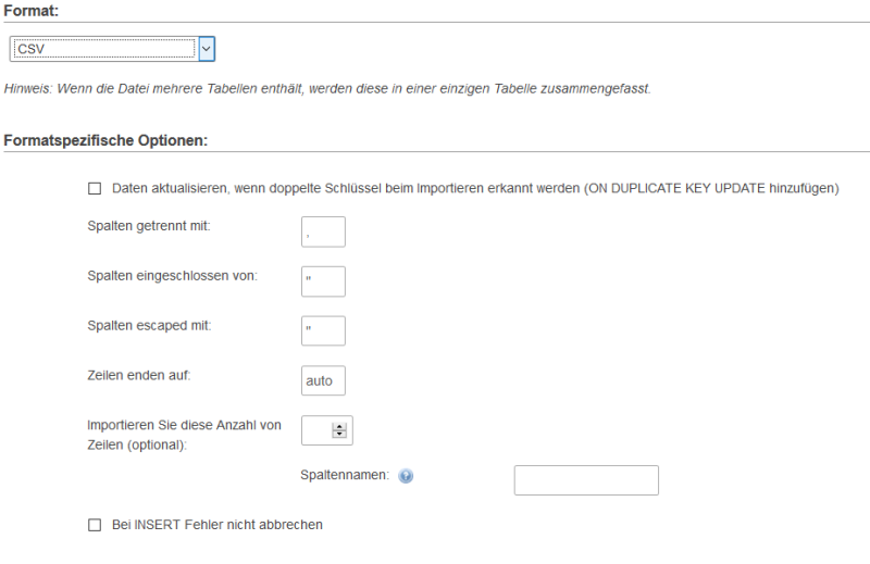 Screenshot Einstellungen CSV-Import PHP-MyAdmin
