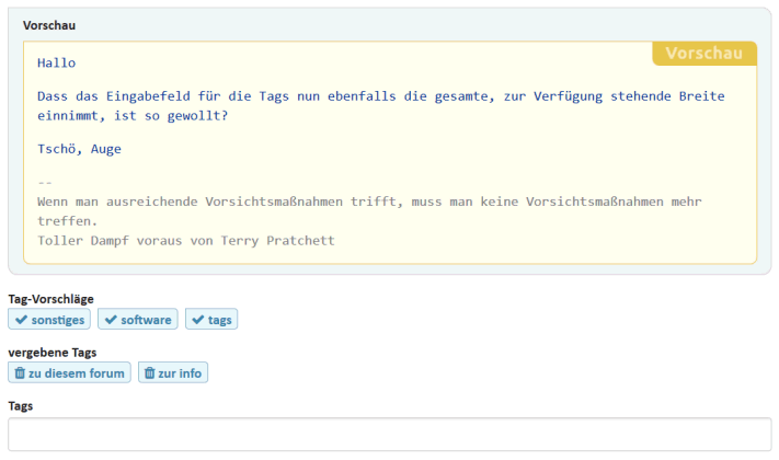 Screenshot: Eingabe der Tags