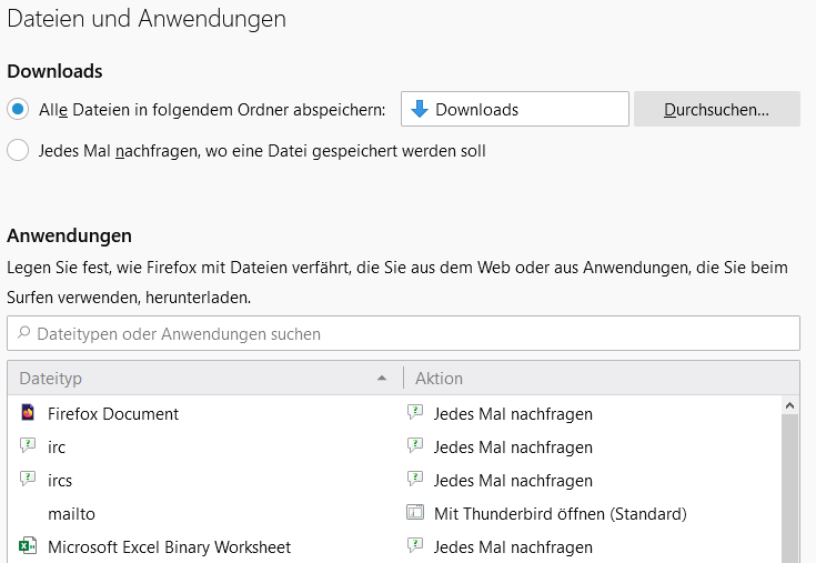 Screenshot Einstellungen zum Download im Firefox