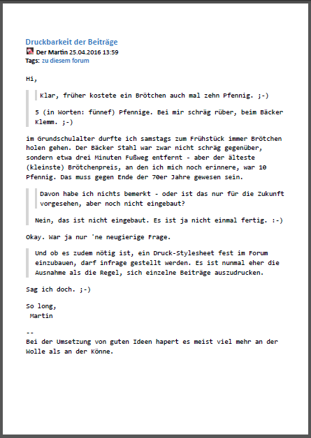 Screenshot eines Postings als PDF