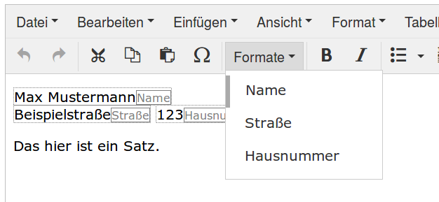 Screenshot von TinyMCE mit Formate-Dropdown