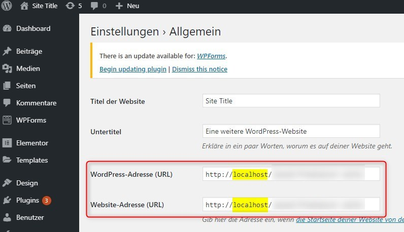 Wordpress URL mit IP
