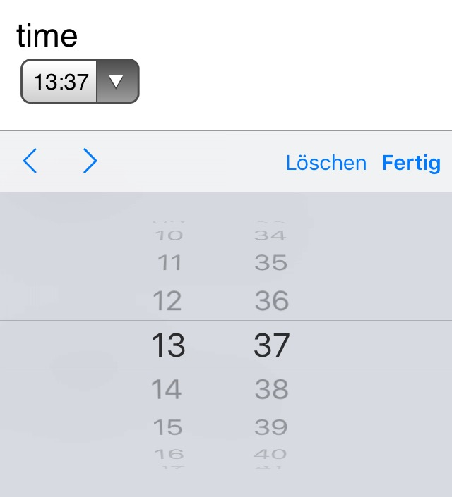 Screenshot Timepicker auf iPhone
