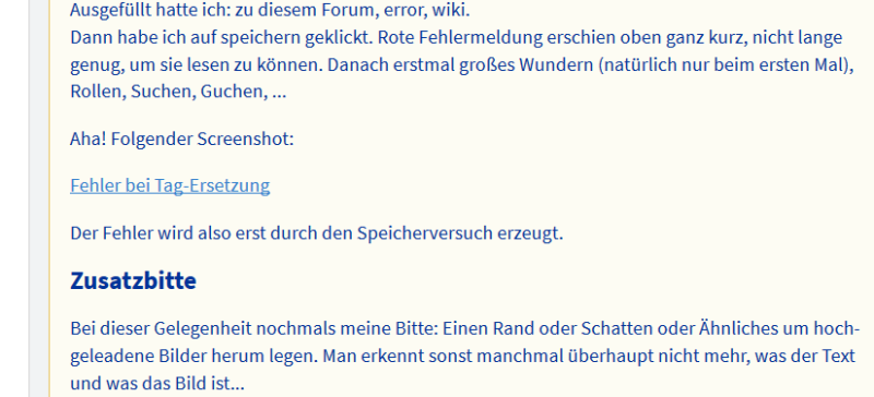 Screenshot vom Posting